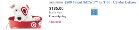 Sell Gift Cards On Ebay - discounted target gift cards on ebay may stack with targeted 8 in ebay bucks