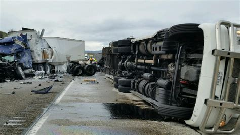 trucks crash 1 killed 2 injured in semi truck crashes on interstate 84