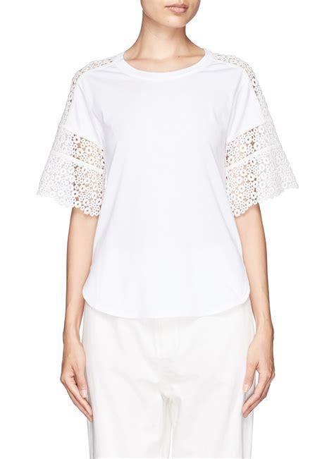 Sleeve Eyelet Lace Shirt lyst chlo 233 eyelet guipure lace sleeve t shirt in white