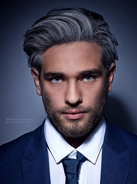 black men with gray hair picturec fashionable gray hair color with black streaks for men