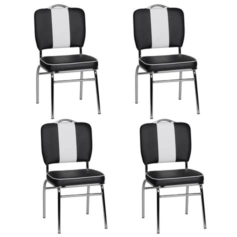 4x design dining chair set american diner 50s retro black