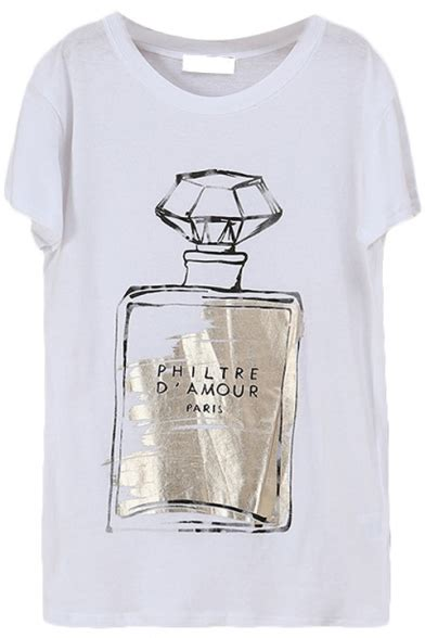 Letter Perfume perfume bottle letter print white t shirt beautifulhalo