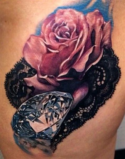 rose lace and diamond tattoo i fucking love tattoos