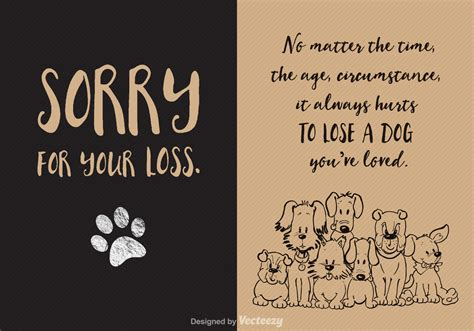 free loss of dog vector card download free vector art