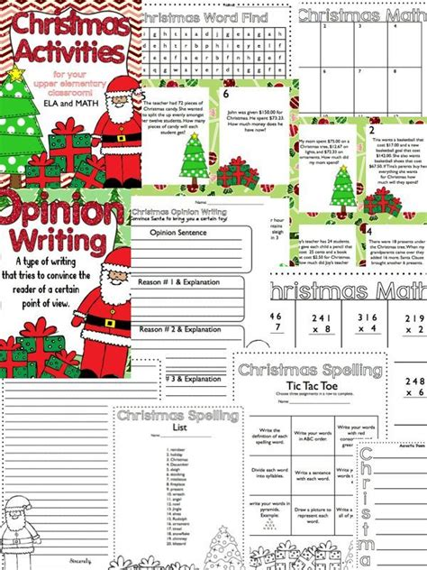 christmas activities math ela grades 3 5 activities