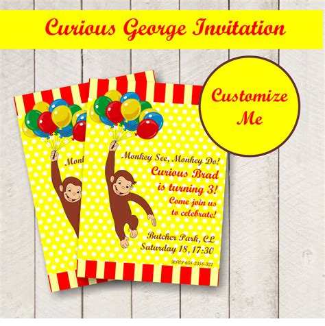 Curious George Baby Shower Invitations by Editable Curious George Invitation Personalized
