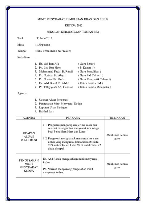 format laporan minit mesyuarat contoh minit mesyuarat linus kali kedua downlllll