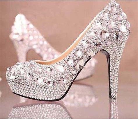 glitter rhinestone high heels wedding