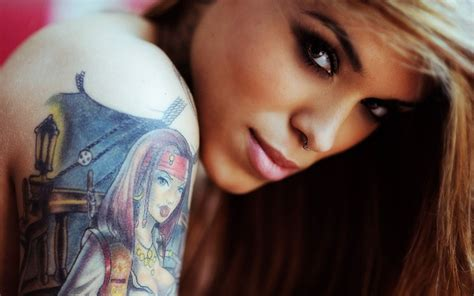 woman with tattoos wallpapers high quality free