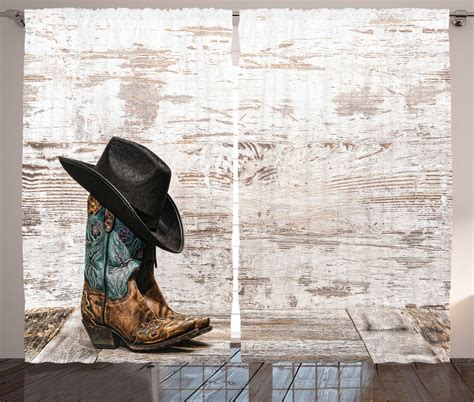 cowboy window treatments rodeo cowboy hat and boots retro grunge photo