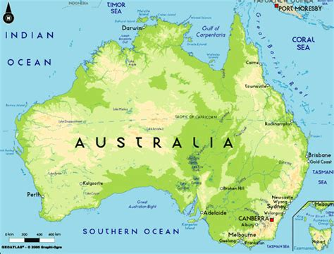 geographical map australia australia geography