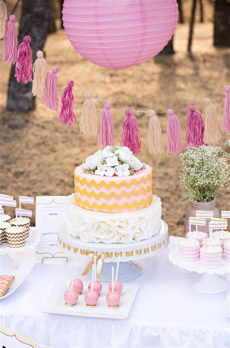 pink bridal shower cake ideas this bridal shower marries pretty pink with glitzy gold
