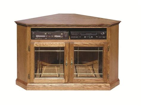 Fd 4040t Glass Traditional Oak 52 Quot Corner Tv Stand With Oak Tv Cabinet With Glass Doors