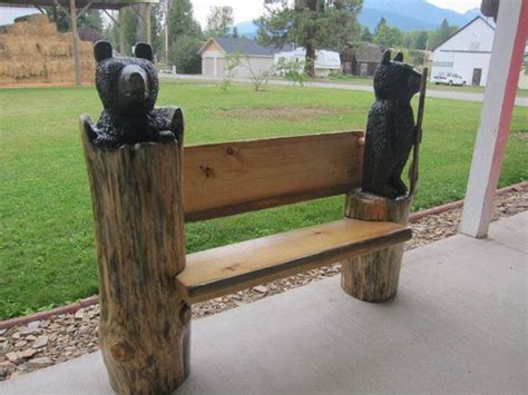 chainsaw bench chainsaw carving black bear bench by jaredcarving on etsy