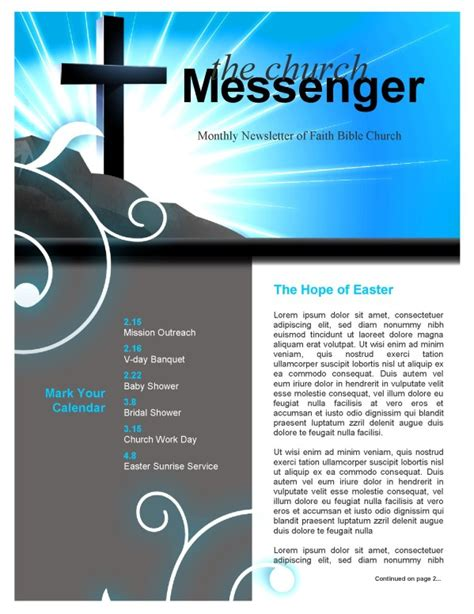 sunday school newsletter templates blue light cross background worship backgrounds
