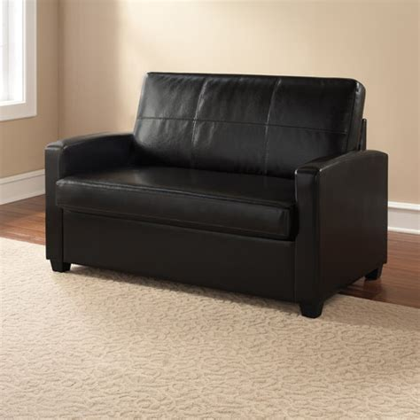 Mainstays Sofa Sleeper Black Faux Leather Mainstays Sofa Sleeper Black Faux Leather Smileydot Us