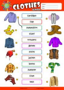 Winter clothes esl printable worksheets for kids 1