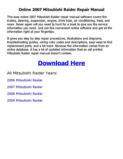 free auto repair manuals 2008 mitsubishi raider regenerative braking service manual download car manuals pdf free 2007 mitsubishi raider regenerative braking