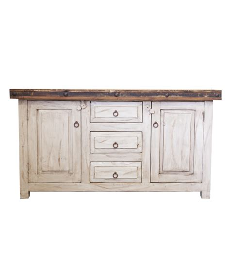 white wash bathroom vanity with oxidized metal banding for