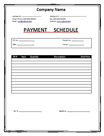 schedule of payments template schedule templates free word s templates
