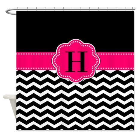 black and pink shower curtain black pink monogram shower curtain by