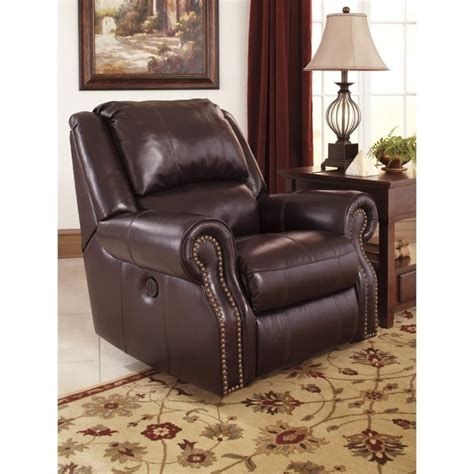 ashley leather recliners ashley walworth leather power rocker recliner in