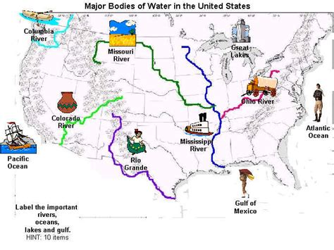 bodies of water bodies of water map united states images