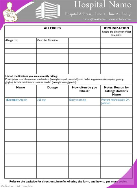free medication list template prescription template free ninareads