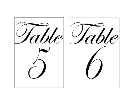 Wedding Table Numbers Template Beepmunk Table Number Templates For Word