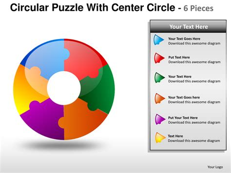 circular puzzle with center 6 powerpoint presentation