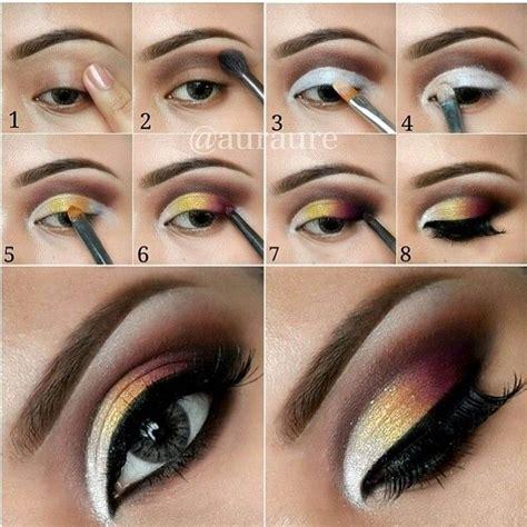 tutorial makeup concealer dark plum and yellow gradient eye makeup tutorial in