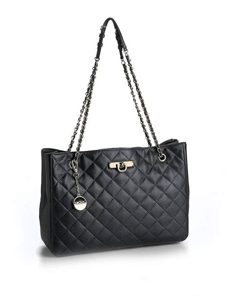 Quilted Leather Bag by Dkny Quilted Leather Tote Bag In Black Lyst
