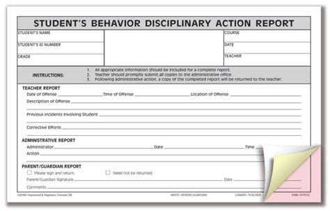 student discipline form template substitute information doggett s class
