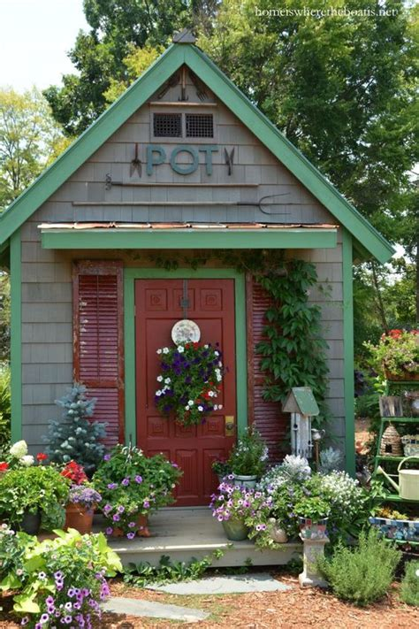 potting shed with vintage garden tools