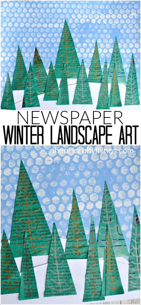 newspaper theme preschool newspaper winter landscape art project i heart crafty things
