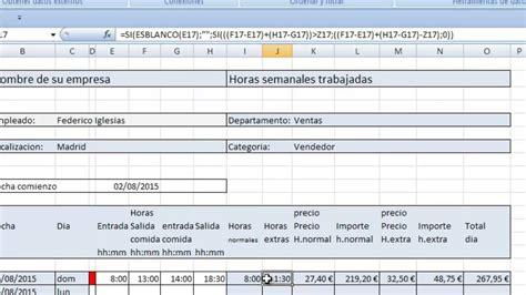 formato horas extras calculo horas extras en excel parte 3 calculo horas extras