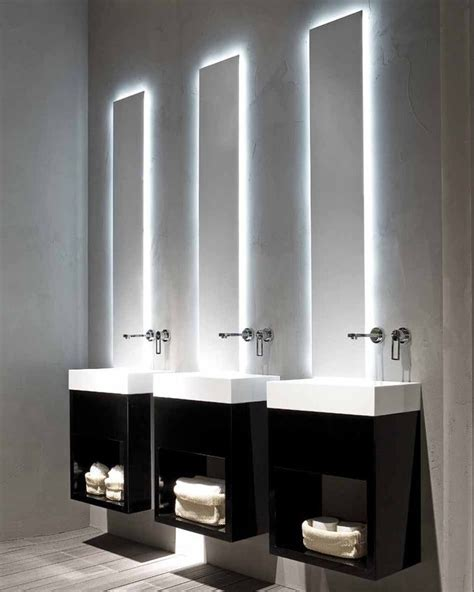 bathroom mirrors lights behind black and white modern minimalist bathroom lavamani