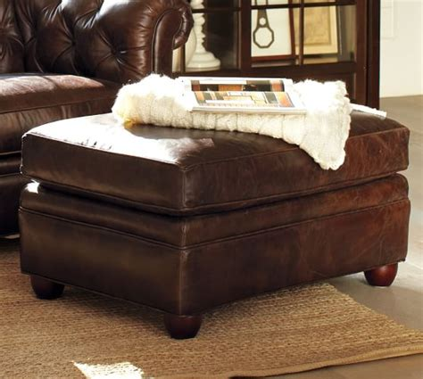 Chesterfield Leather Ottoman   Pottery Barn