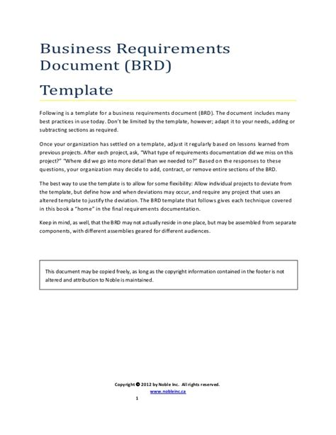 brd business requirements document template brd template uml noble inc