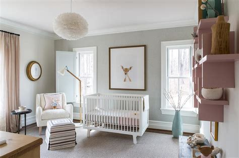 Pink And Gray Nursery With Gray Wall Trim Moldings Grey And White Nursery Decor