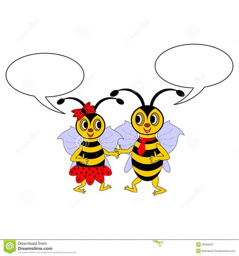 A Couple Of Funny Cartoon Bees With Chatting Bubbles Stock