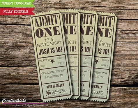 11 Sle Amazing Movie Ticket Templates To Download Sle Templates Blank Ticket Invitation Template