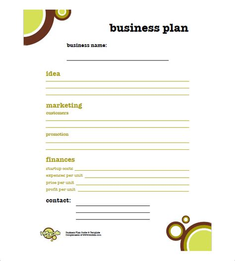 simple business plan template anuvrat info