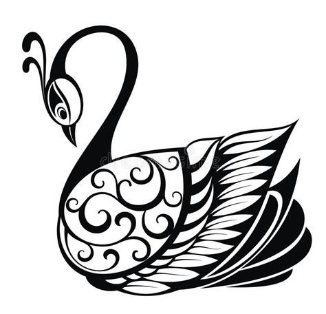 swan bird silhouette stock vector illustration of tattoo