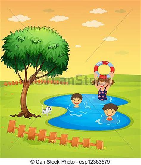 dibujos niños jugando en la piscina ilustraciones vectoriales de el gozar piscina ni 241 os