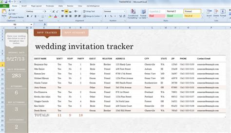 wedding spreadsheet templates wedding invite list template for excel 2013