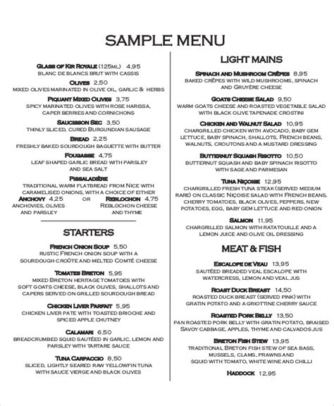menu layout pdf sle food menu 7 documents in pdf word