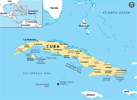cuba on map of world map showing the geographical location of us naval station