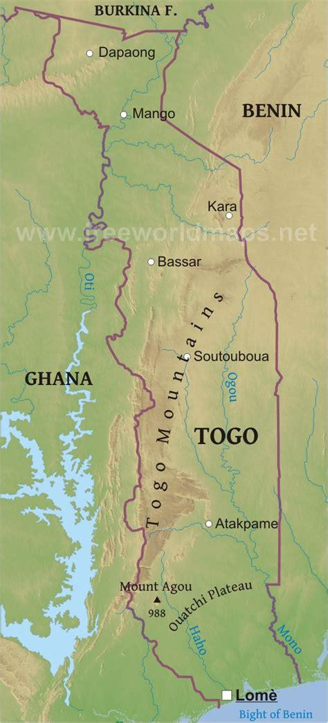 physical map of togo benin physik karte