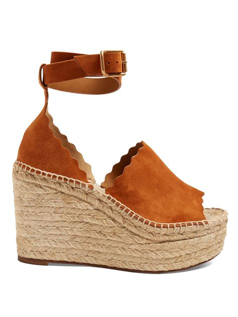 068 2 Wedges Fashion Pp lyst chlo 233 suede espadrille wedge sandals in brown